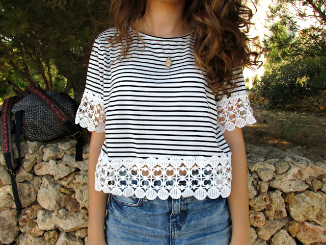 dressgal, striped crop top, high-waisted denim shorts