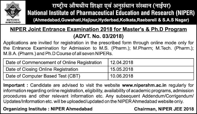 NIPER Joint Entrance Exam Notification 2018