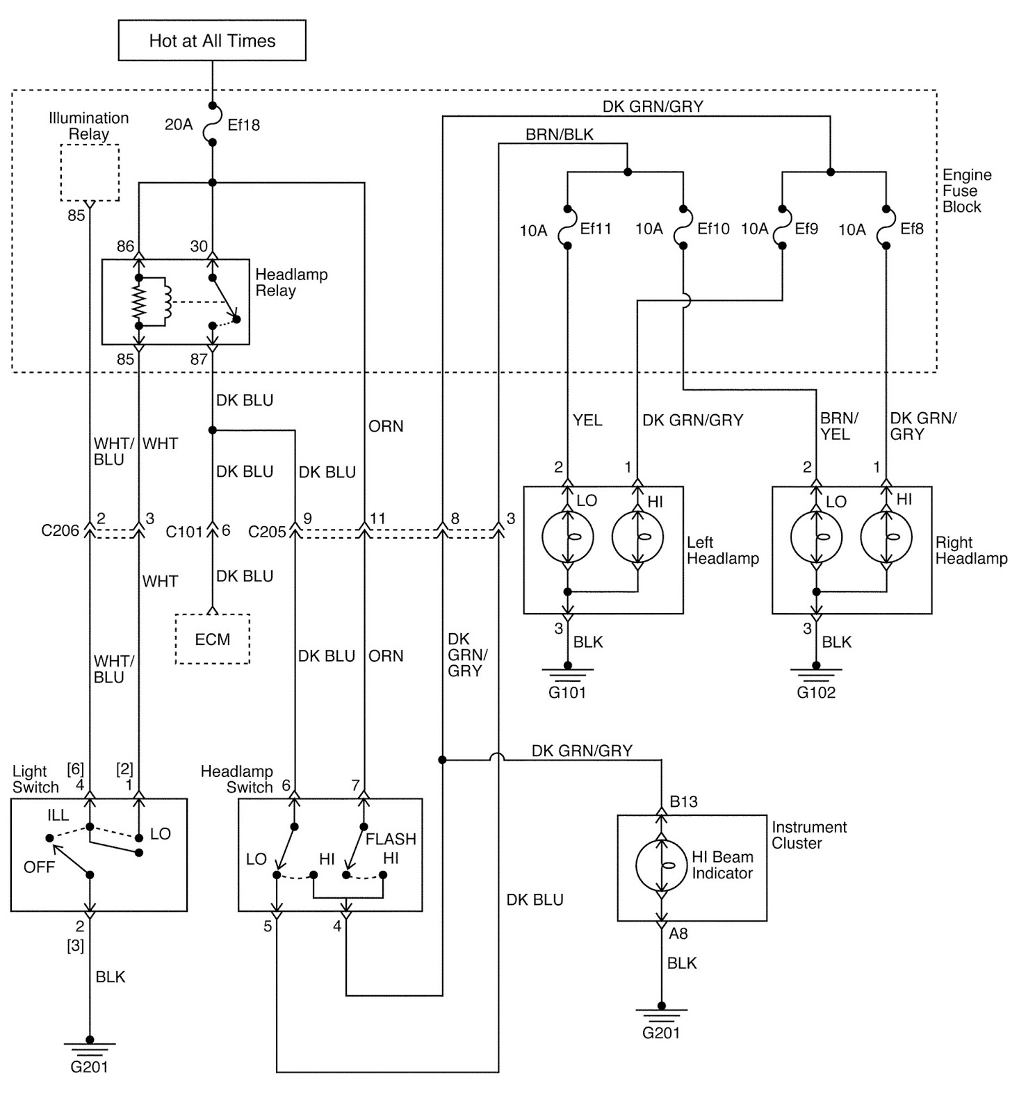 medium resolution of head lamp circuit