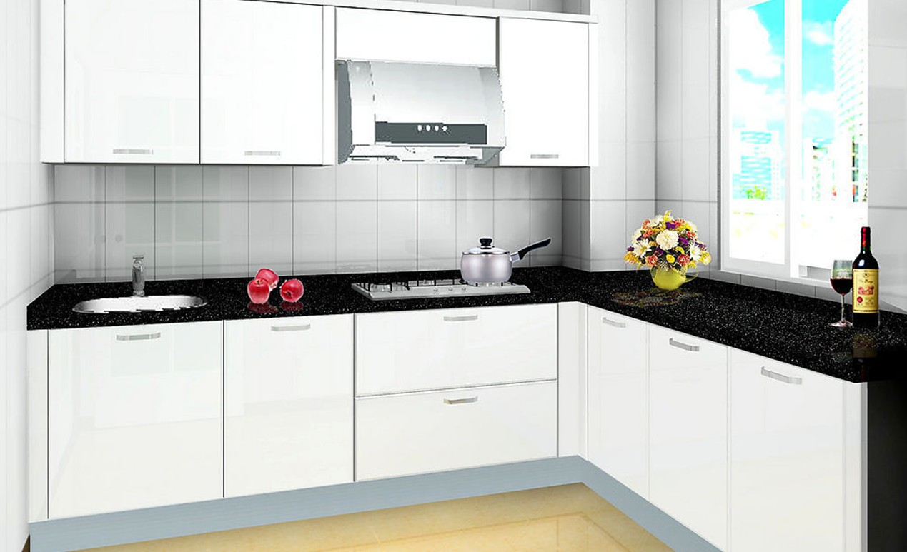 Tips asas masuk rumah baru pasang kabinet dapur for Black and white kitchen cabinet designs