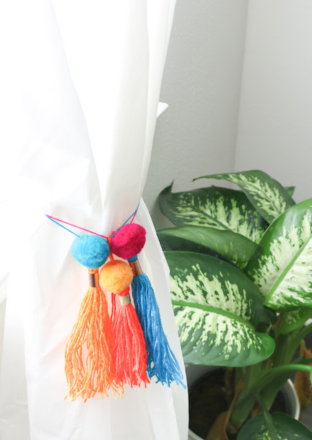 DIY Copper Pom-Pom Tassel Curtain Ties