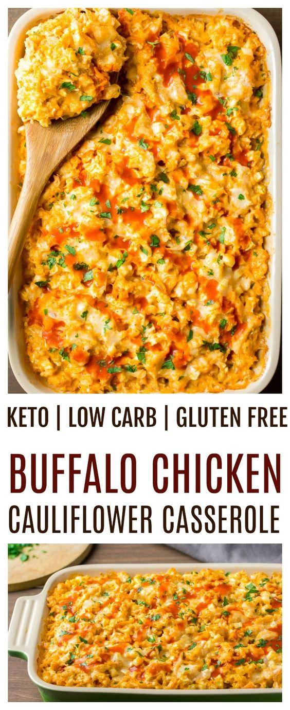 Creamy Buffalo Chicken Cauliflower Casserole