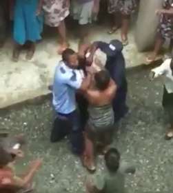 Lady getting beat