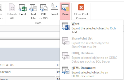 Click the more dropdown arrow to see more export options