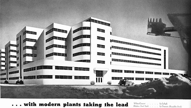 1930s streamline factory illustration, with modern plants taking the lead