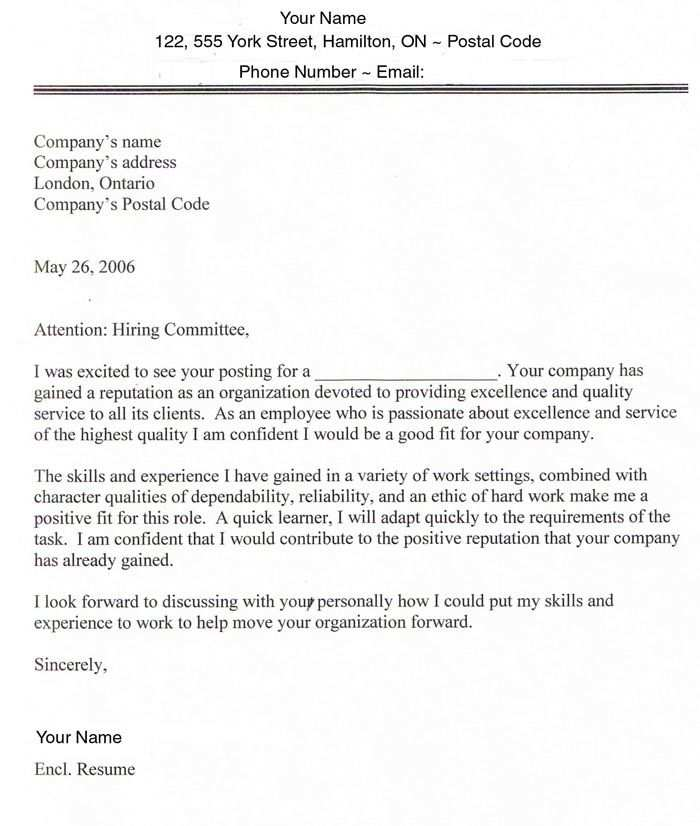 Cover Letter Templates And Samples
