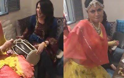 Kavita-kaushik-dancing-while-aashka-playing-the-dholak