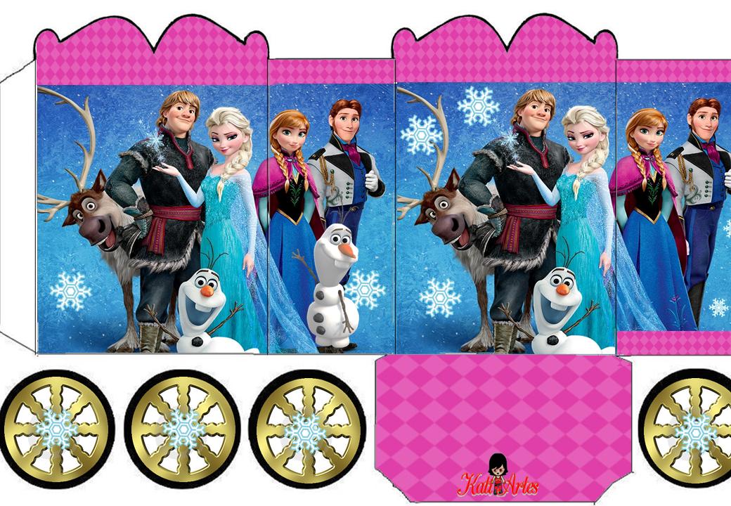 Frozen con Orilla Fucsia: Caja con forma de Carruaje para Imprimir Gratis.