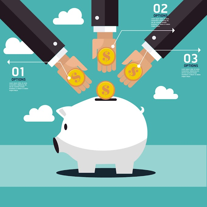 Three arm to save money in piggy bank free vector