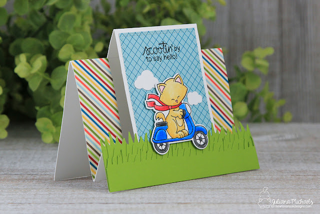 Hello Step Card by Juliana Michaels featuring Newton's Nook Designs Newton Scoots by Stamp and Die set