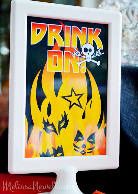 drink on sign, KISS, rocker party decor, table sign, skull, fire