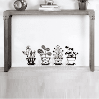vinilo decorativo macetas cactus plantas plantitas decoracion escaleras heladera ventanas