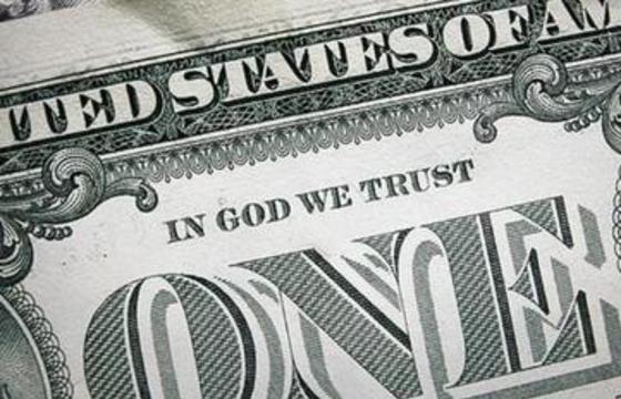 """Frase """"En Dios confiamos"""" en billete de un dólar"""