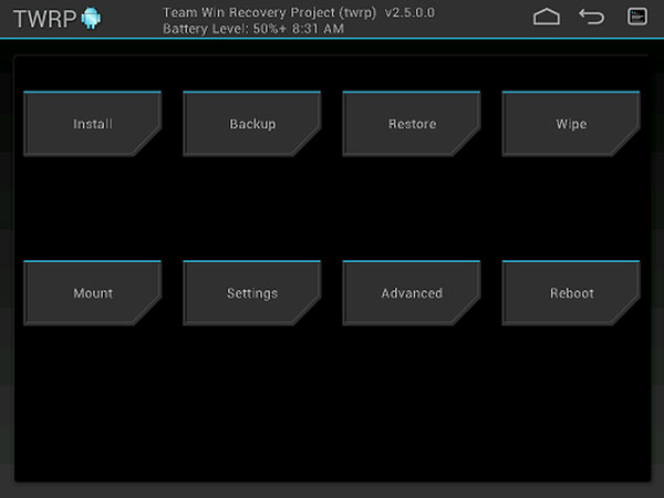 twrp tampilan layar home tablet android