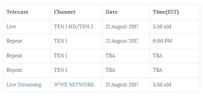 WWE Summer Slam Live 2017 India Timings LIVE TELECAST 20 August