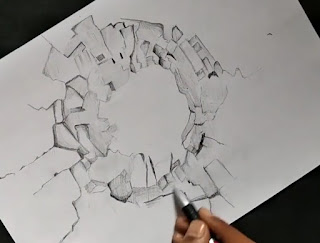 How to draw broken walls, step by step tutorial for to draw broken walls, easy Drawing, easy drawing for kids, drawing for learning