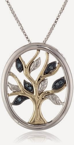 XPY Sterling Silver and 14k Yellow Gold Diamond Tree of Life Pendant Necklace