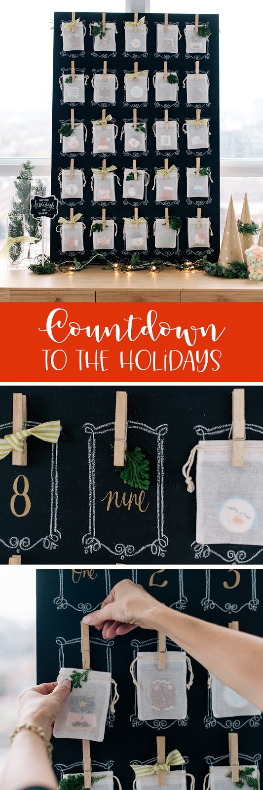 sweet countdown to the holiday idea using mini advent cookies and muslin bags | creativebag.com