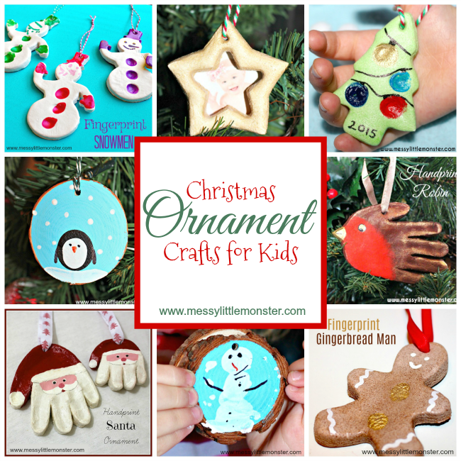 DIY Christmas ornaments craft ideas for kids.  Tree decorations babies, toddlers, preschoolers and older kids can make. Includes Christmas salt dough ornaments, fingerprint, handprint and footprint keepsakes and wood slice ornaments.
