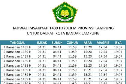 Jadwal Imsakiyah Puasa Ramadhan 1439 H/2018 M Wilayah Lampung dan Sekitarnya