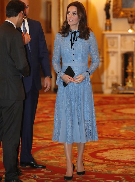 Pregnant Kate Middleton wore Temperley London Eclipse lace collar dress and KIKI McDonough Blue Diamond Drop Earrings