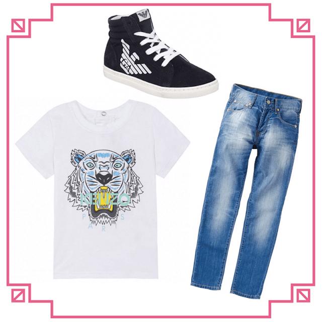 armarni trainers, kenzo t-shirt, levi jeans