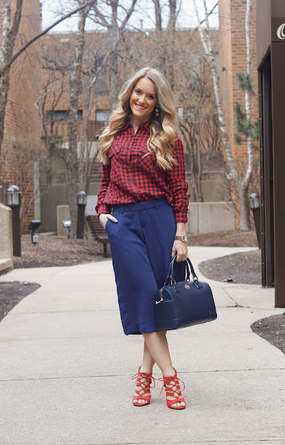 plaid shirt styled with culottes