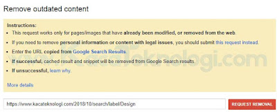 Panduan Lengkap - Cara Menghapus URL dari Google Search Console. Cara Menghapus Link di Google Search Console. Menghapus link atau url dari Google Search Console sangatlah mudah. Di mana kita bisa menggunakan Google Search Console Removal URLs, , Robots.txt File, dan Google Remove Outdated Content. Anda tidak perlu menggunakan semua cara tersebut namun anda bisa pilih cara mana yang ingin anda gunakan.