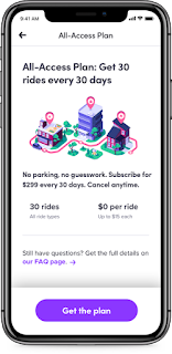 Lyft's All-Access plan costs $299 per month for 30 rides (up to $15 each)