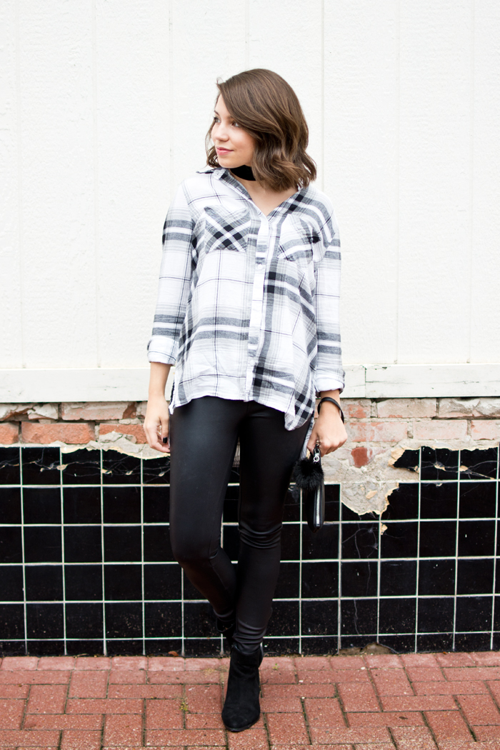 Edgy fall outfit, bp plaid tunic, express leather leggings, suede booties, pom pom clutch, velvet choker