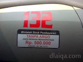 nomor seri taksi dan himbauan