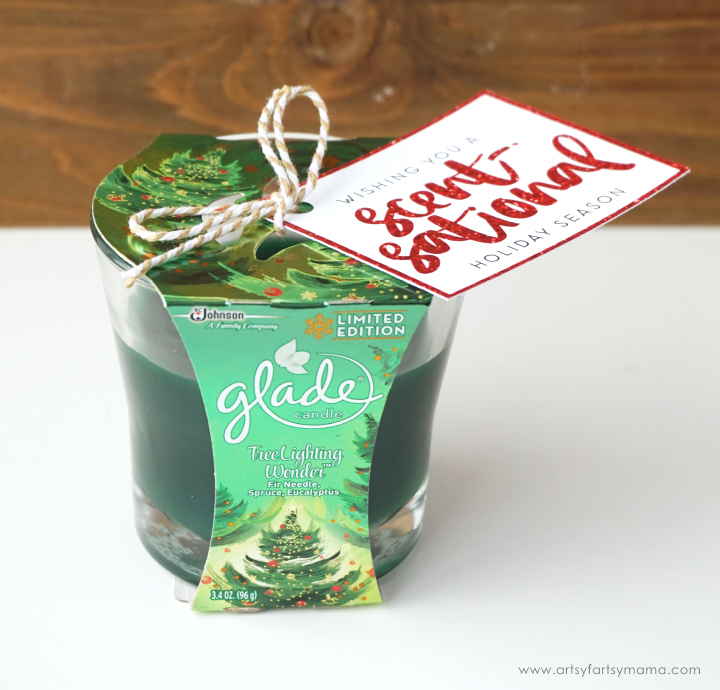 This Holiday Candle Gift Idea with Free Printable Gift Tag is the perfect gift to share this holiday season! #GladeHolidayCheer #CollectiveBias
