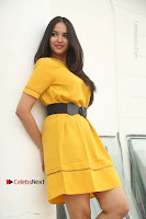 Actress Poojitha Stills in Yellow Short Dress at Darshakudu Movie Teaser Launch .COM 0104.JPG