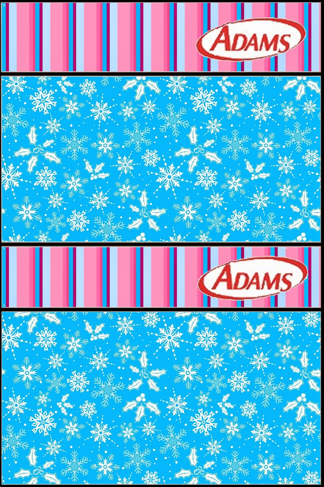 Etiqueta Golosinas Adams de Frozen en Morado y Celeste para Navidad para imprimir gratis.