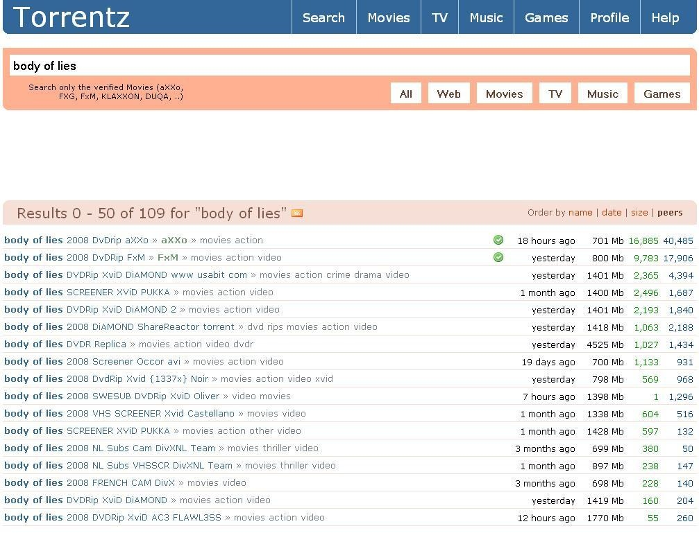 Search Torrents Engine