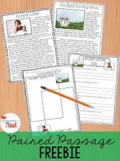 FREEBIE paired passage text on Daylight Saving Time- practices reading comprehension and writing skills