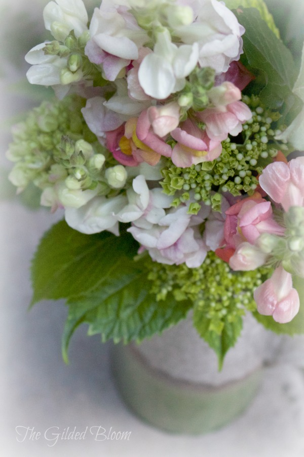 Cottage Garden Floral Arrangement- Snapdragons and Hydrangeas