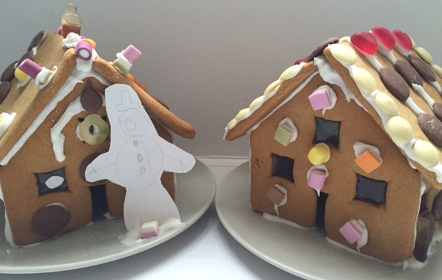 Making gingerbread houses with children