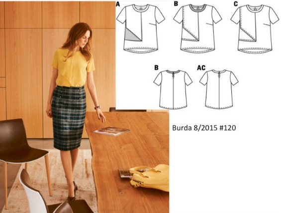 Burda 8/2016 #120 black drape top green plaid skirt www.loweryourpresserfoot.blogspot.com