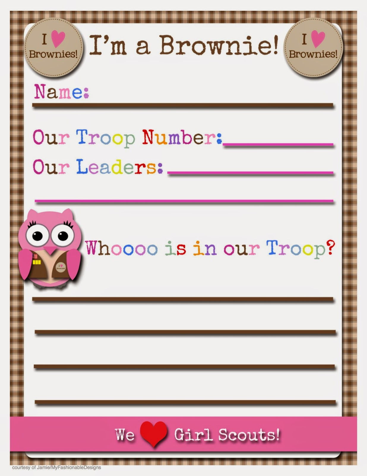 My Fashionable Designs Girl Scouts Free Printable