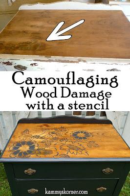 http://www.kammyskorner.com/2016/09/camouflaging-wood-damage-dumpster.html