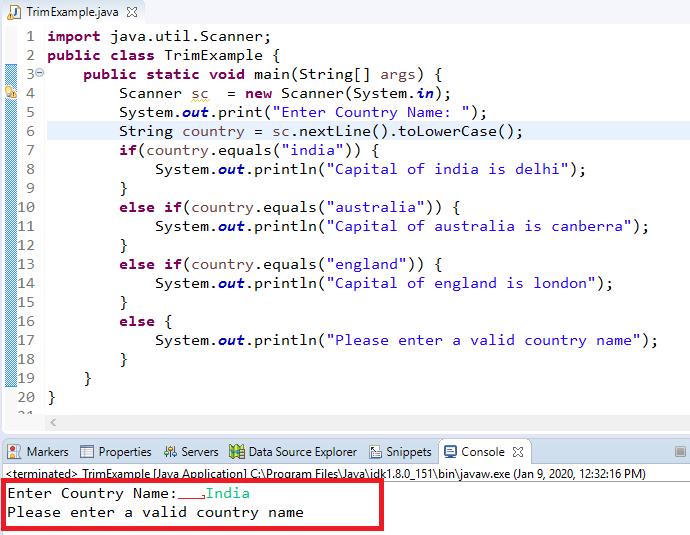 Java string trim() method
