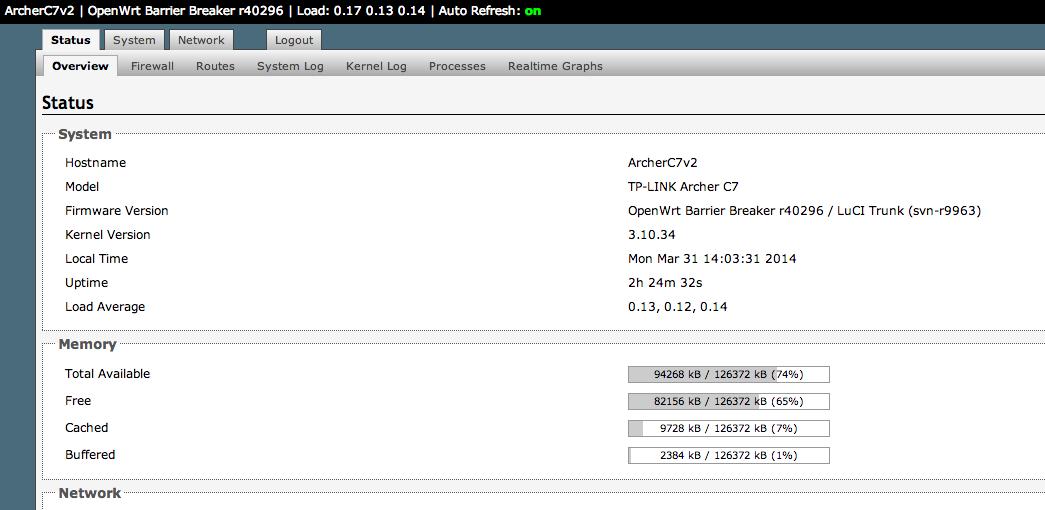 9M2TPT / KT2O / M0HIK: TP-Link Archer C7 V2 - OpenWrt
