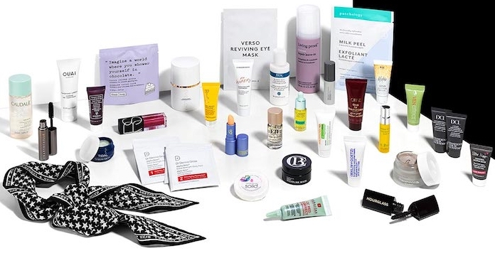 Contents of the Space NK Stars Collection, a 33-piece free gift with purchase goody bag with beauty, skincare, and makeup for Autumn 2018
