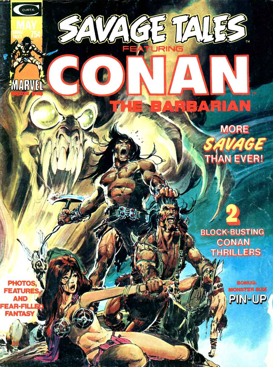Savage Tales v1 #4 conan marvel comic book cover art by Neal Adams