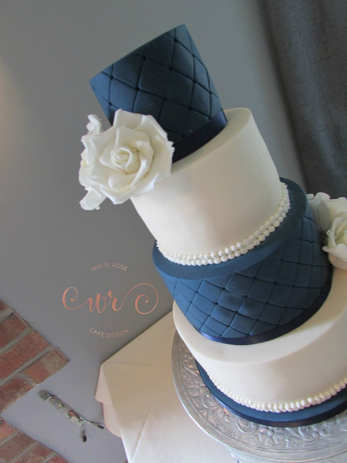 Ivory And Navy Wedding Cake By White Rose Cake Design White Rose