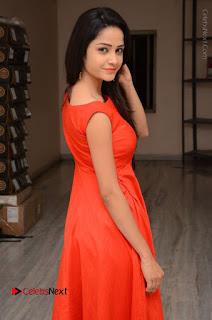 Telugu Actress Divya Nandini Stills in Orange Sleeveless Gown at Chennai Chaitrama Movie le Launch Event  0033.JPG