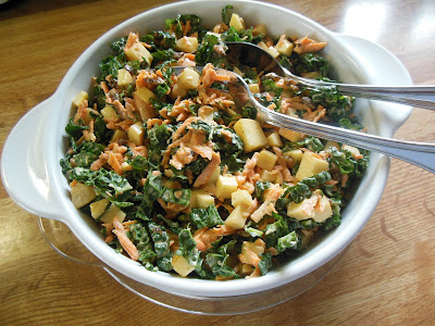 Kale Apple and Carrot Slaw, the best way to introduce raw kale to the family!