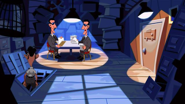 Dos hombres repasan los papeles de el Dr. Fred