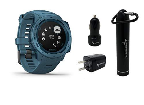 Garmin Instinct Rugged GPS Watch and Wearable4U Ultimate Power Pack Bundle  (Lakeside Blue) 2019